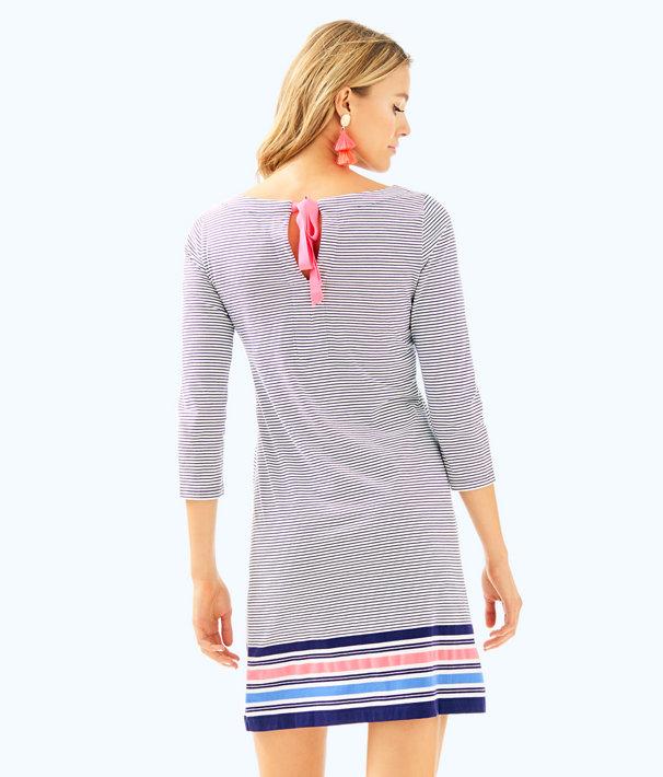 Noelle Dress, True Navy Bayside Stripe Engineered Dress, large