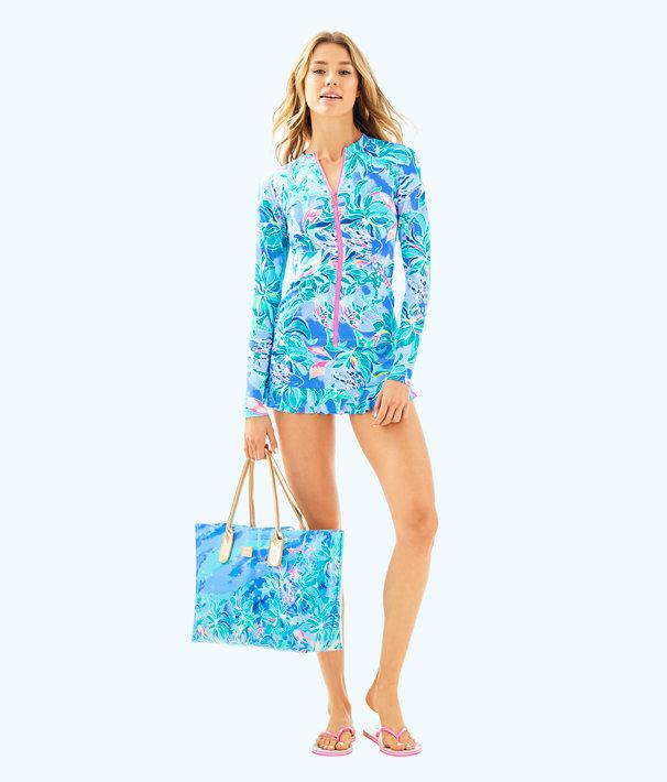 UPF 50+ Sunny Rashguard, Bennet Blue Celestial Seas, large