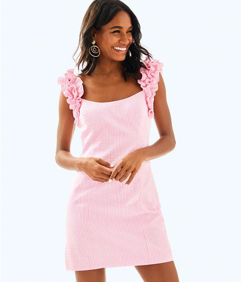 Devina Dress, Pink Cosmo Yarn Dyed Stripe Seersucker, large