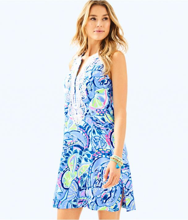 Carlotta Stretch Shift Dress, Blue Peri Pinch Pinch, large