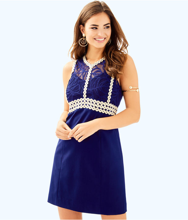 Leigh Stretch Shift Dress, True Navy, large