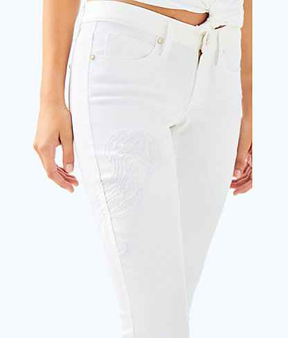 "28"" South Ocean Skinny Cropped Embroidery Pant, Resort White, large"