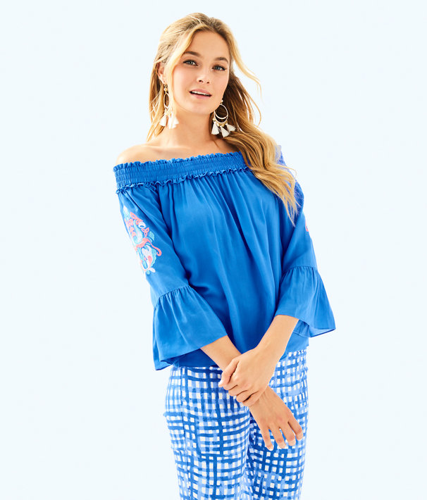 Moira Off The Shoulder Top, Bennet Blue, large