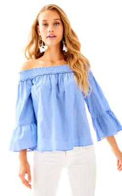 Moira Top, Bennet Blue Yarn Dye Stripe, large