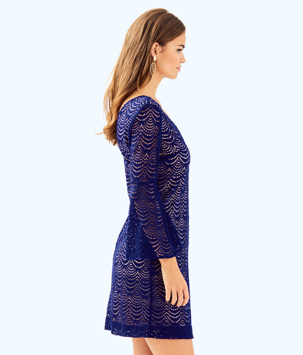 Nicoline Dress, True Navy Scalloped Shell Lace, large