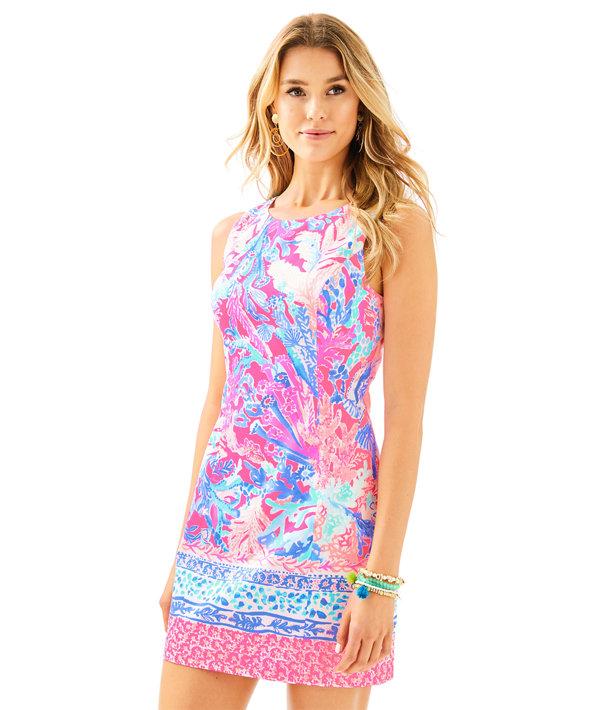 Mila Shift Dress, Light Pascha Pink Aquadesiac Engineered Shift, large