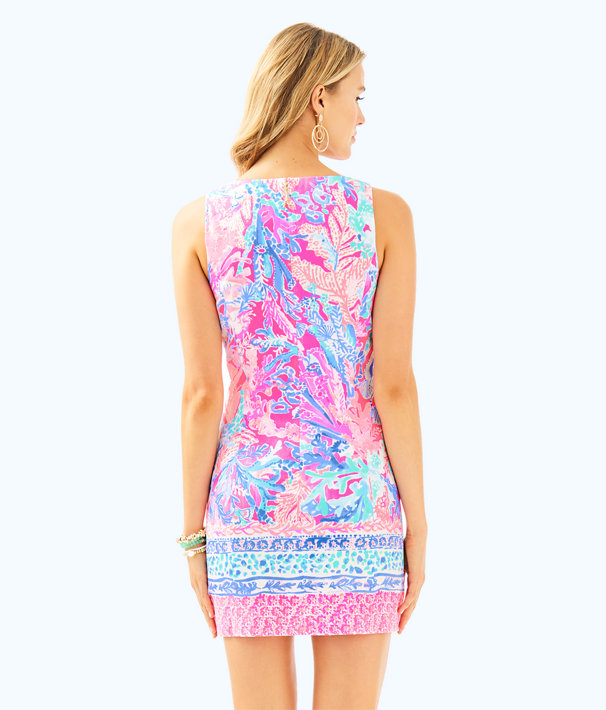 Mila Shift Dress, Light Pascha Pink Aquadesiac Engineered Shift, large