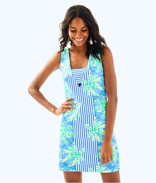 Chiara Shift Dress, Bennet Blue Tropic Like Its Hot Engineered Dress, large
