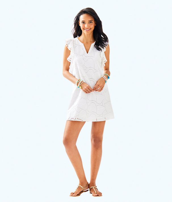 Astara Dress, Resort White Leaf Eyelet, large