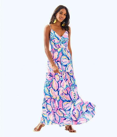 Melody Maxi Dress, Pink Sunset The Sunny Side, large