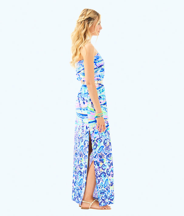 Mika Strapless Maxi Dress, Blue Current Chasing Waves Engineered Maxi, large
