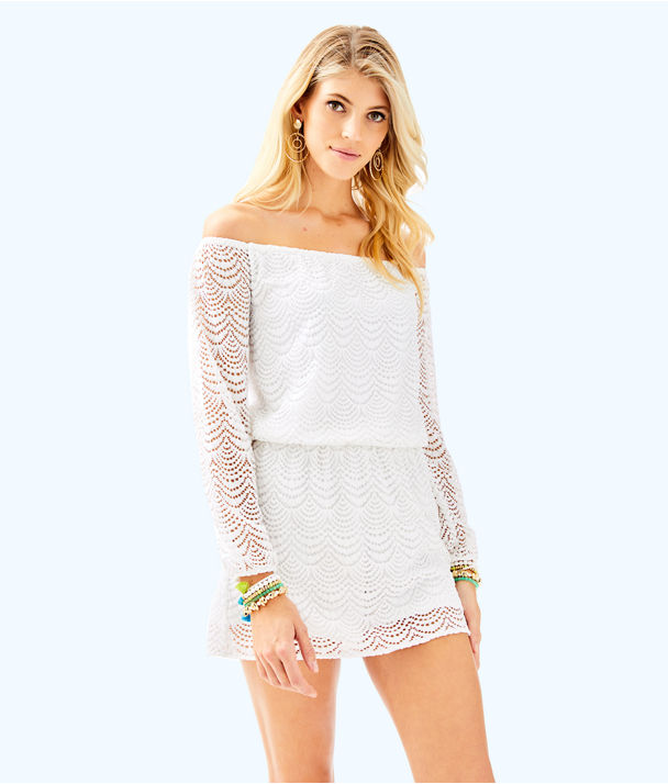 Lana Skort Romper, Resort White Scalloped Shell Lace, large