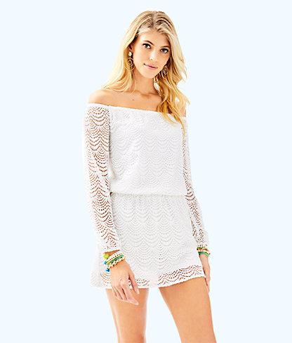Lana Skort Romper, Resort White Scalloped Shell Lace, large