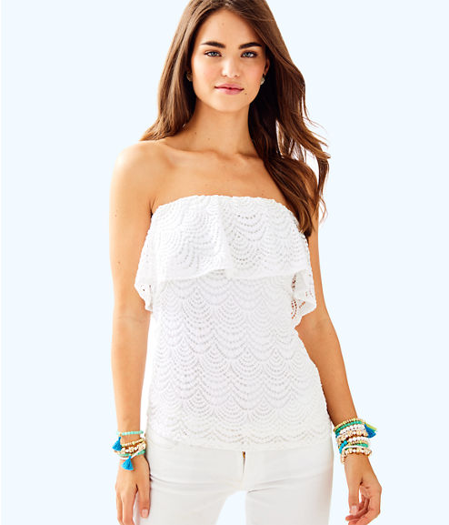 Wiley Tube Top, Resort White Scalloped Shell Lace, large