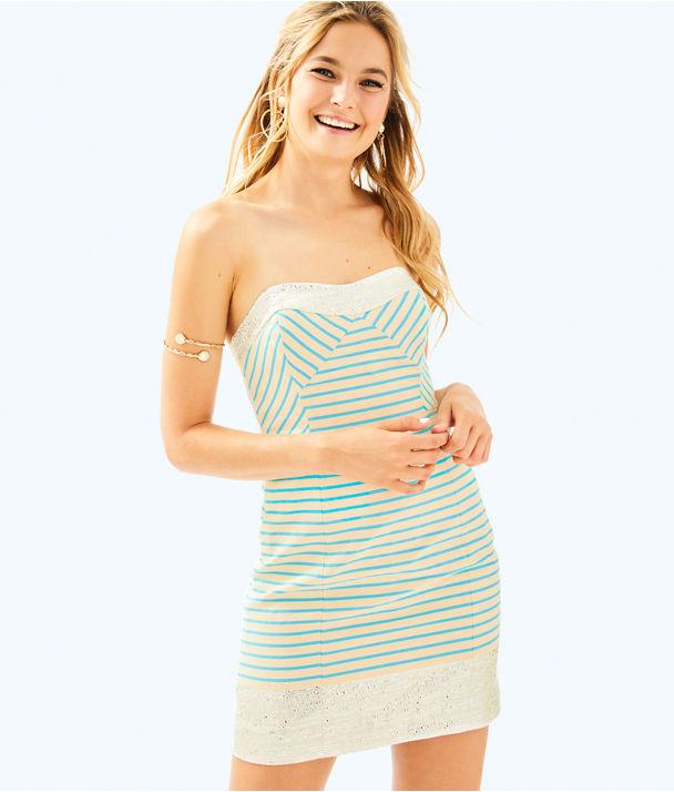 Remi Dress, Blue Horizon Bayview Stripe Metallic, large