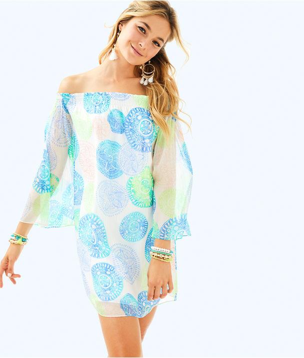 Abi Silk Dress, Resort White Dune Our Thing, large