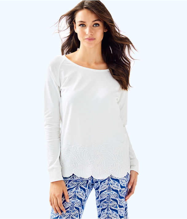 Sandy Embroidery Popover, Resort White Under The Sea Eyelet Engineered, large