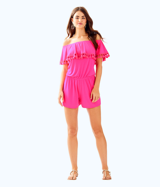 La Fortuna Off The Shoulder Romper, Pink Cosmo, large