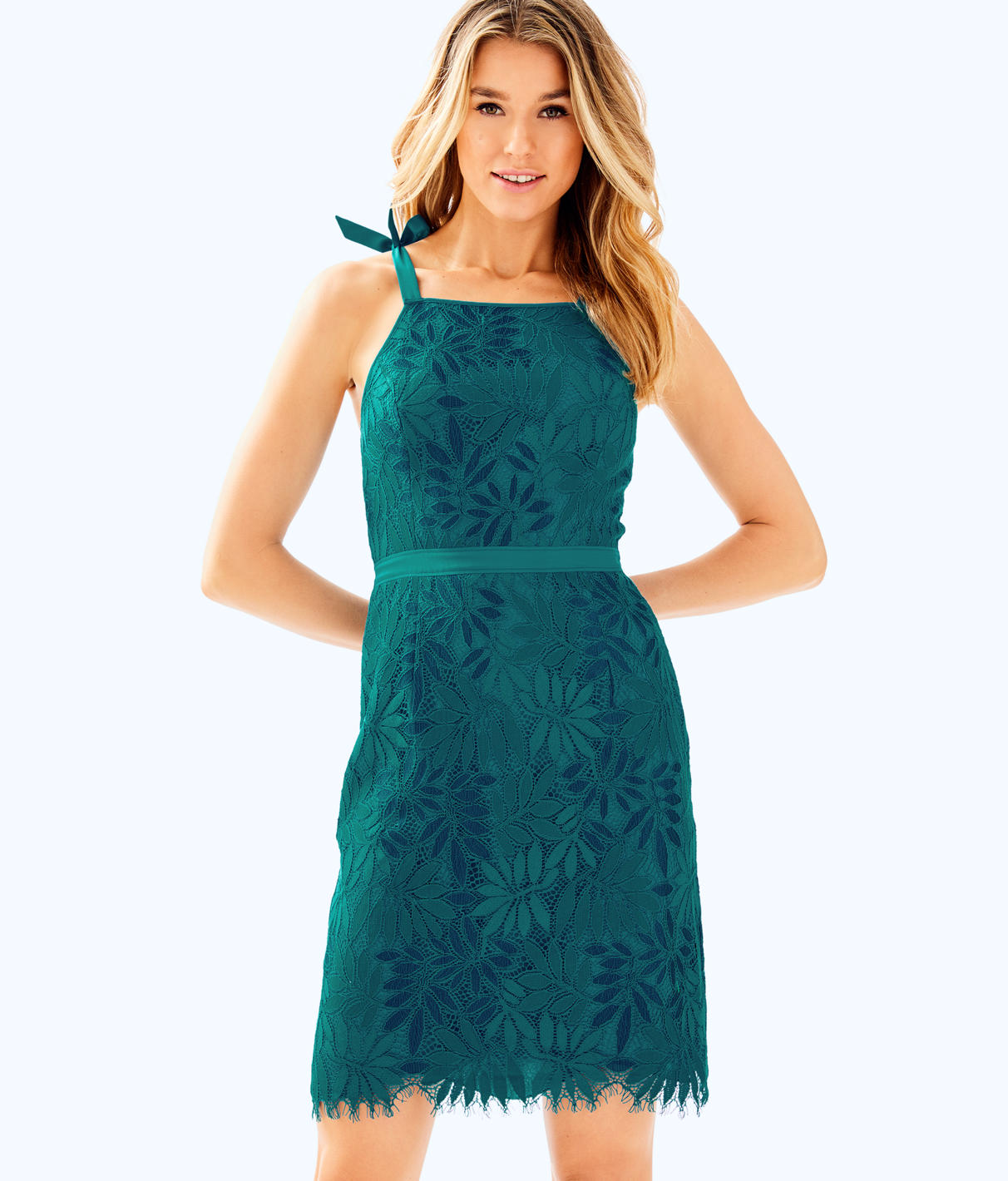 LILLY PULITZER Kayleigh Lace Sheath Dress in Tidal Wave Fern Gallery Lace