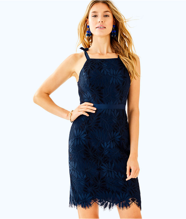 Kayleigh Shift Dress, True Navy Fern Gallery Lace, large