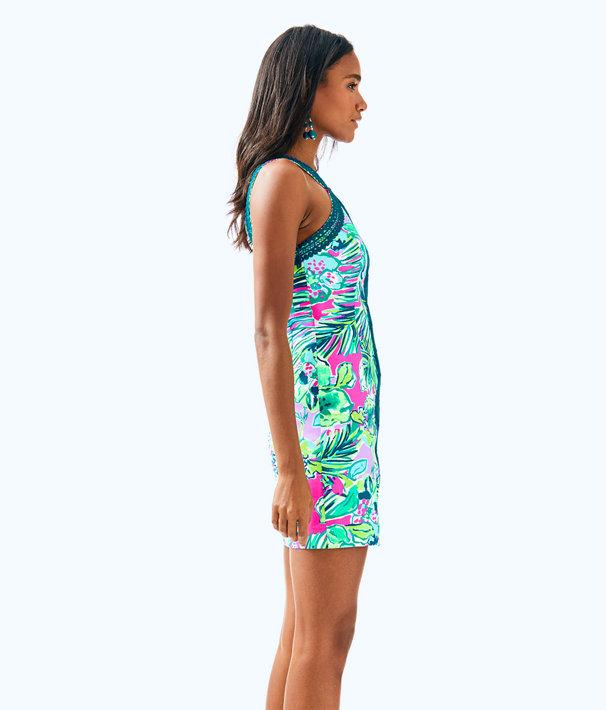 Vena Stretch Shift Dress, Multi Early Bloomer, large
