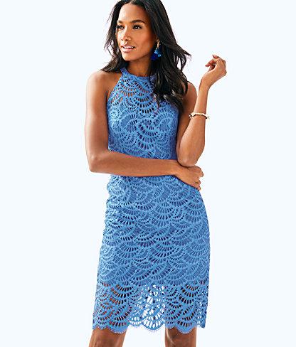 Kenna Halter Dress, Bennet Blue Scalloped Fan Lace, large