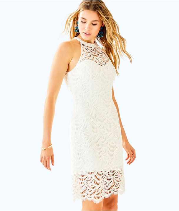 Kenna Halter Dress, Coconut Scalloped Fan Lace, large