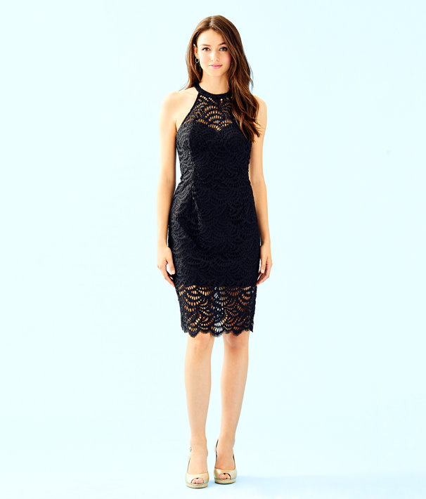 Kenna Halter Dress, Onyx Scalloped Fan Lace, large