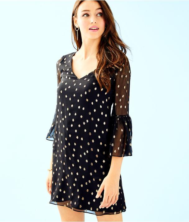 Caroline Silk Tunic Dress, Onyx Starry Clip Chiffon, large