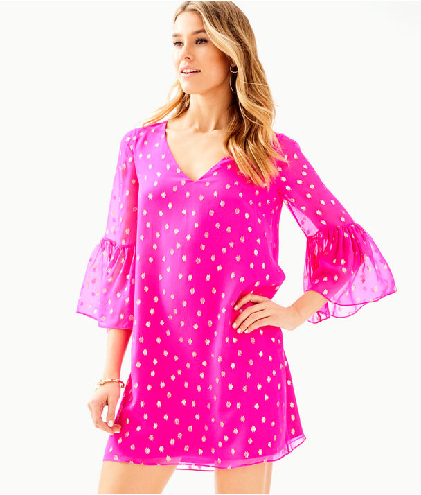 Caroline Silk Tunic Dress, Pinata Pink Starry Clip Chiffon, large