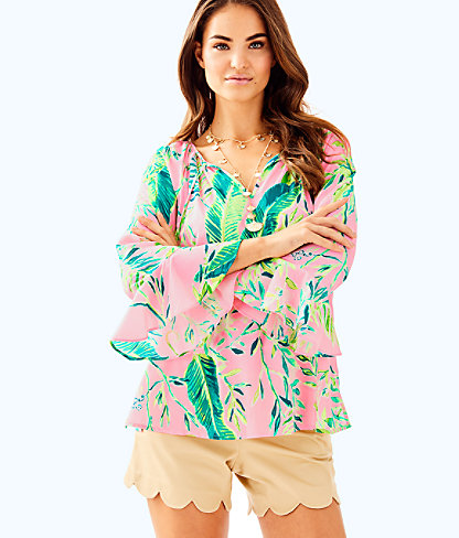 Willa Flounce Sleeve Top, Coral Reef Tint Chimpoiserie, large