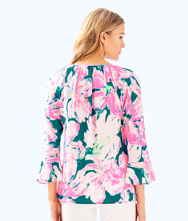 Willa Flounce Sleeve Top, Tidal Wave Pans Garden, large