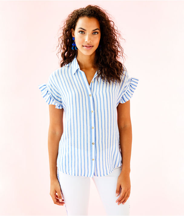 Leighton Shirt, Bennet Blue Beachy Yd Stripe, large