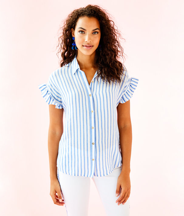 Leighton Shirt, Bennet Blue Beachy Yd Stripe, large