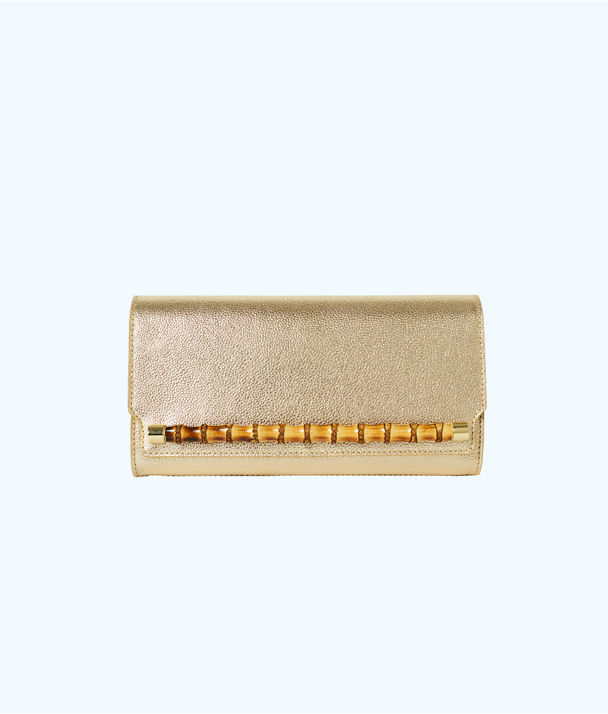 Bamboo Clutch, Gold Metallic, large