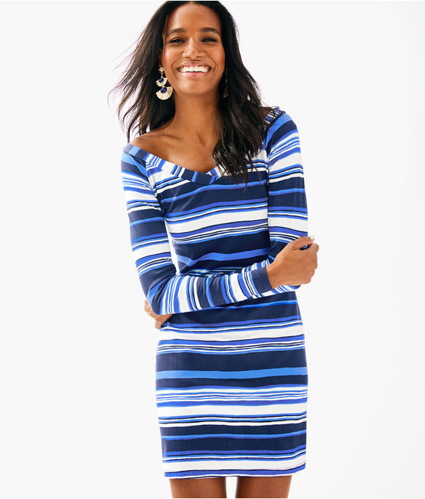 Suzanna Dress, Bright Navy Jungley Stripe Horizontal, large