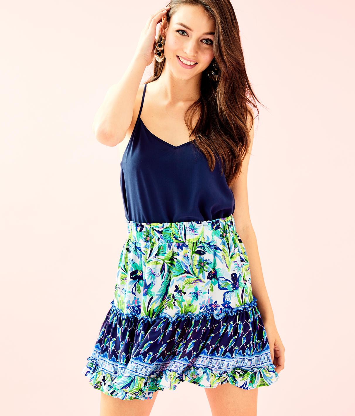 Raya Printed Mini Skirt, Multi Petal Faster Engineered Skirt