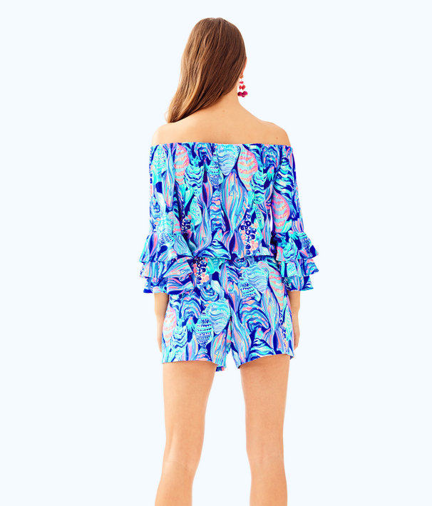 Calla Off The Shoulder Romper, Twilight Blue Scale Up, large