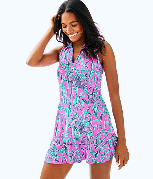 UPF 50+ Luxletic Martina Tennis Dress, Mandevilla Pink Extra Lucky, large