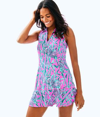 UPF 50+ Luxletic Martina Tennis Dress, Mandevilla Pink Extra Lucky, large