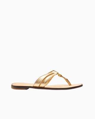 McKim Leather Sandal, Gold Metallic, large