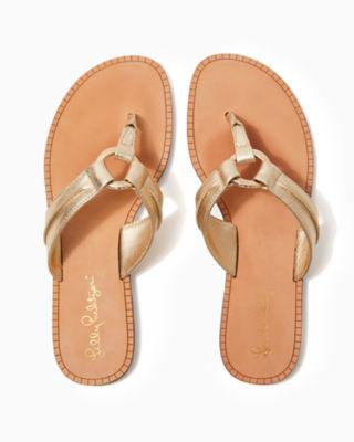 McKim Leather Sandal, Gold Metallic, large