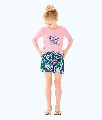 Girls Londyn Top, Coral Reef Tint Monkey Childrens Londyn Top, large