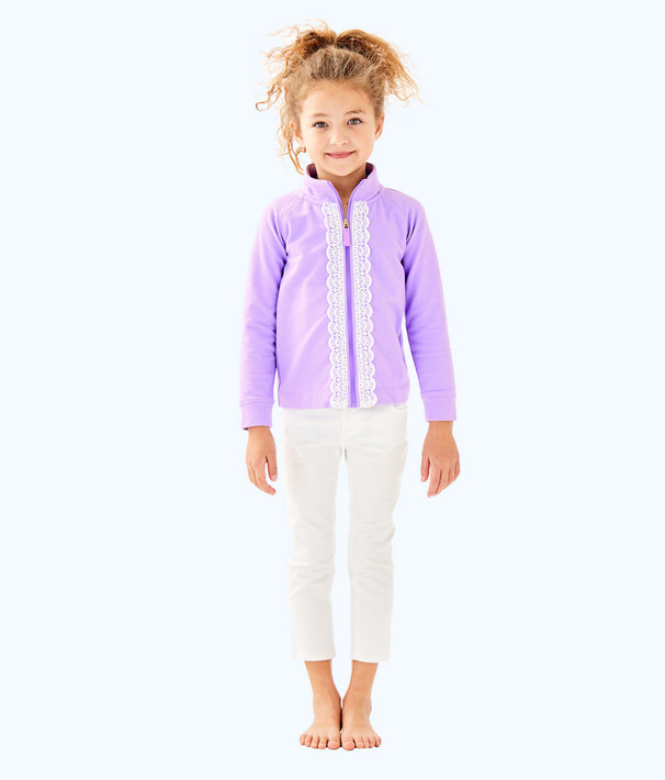 Girls Little Leona Zip Up, Light Lilac Verbena, large