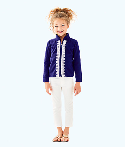Girls Little Leona Zip Up, True Navy, large