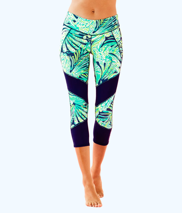 "Luxletic 21"" Thea Weekender Crop Legging, Bright Navy Party Like A Flock Star, large"