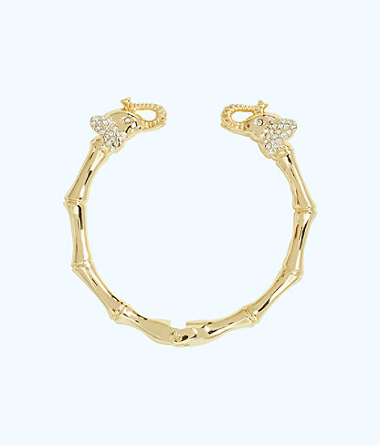 Glam Elephant Bracelet, Gold Metallic, large