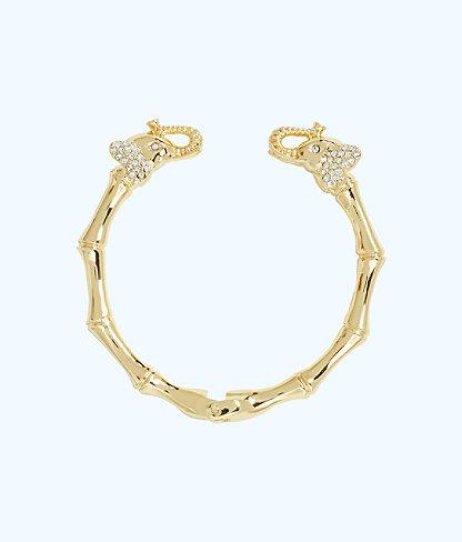 Glam Elephant Bracelet, Gold Metallic, large