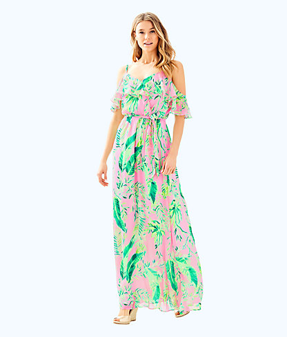 Zadie Maxi Dress, Coral Reef Tint Chimpoiserie, large