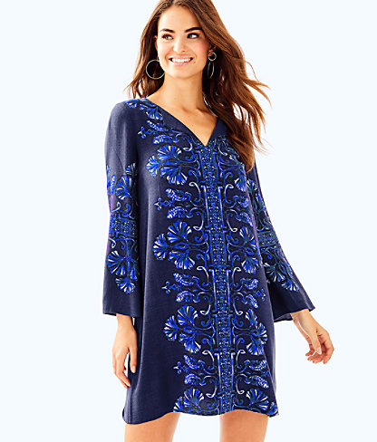 Harlow Tunic Dress, Bright Navy Twice As Nice Engineered Dress, large